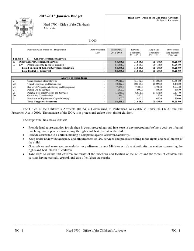 2012-2013 Jamaica Budget                                                      Head 0700 - Office of the Childrens Advocate...