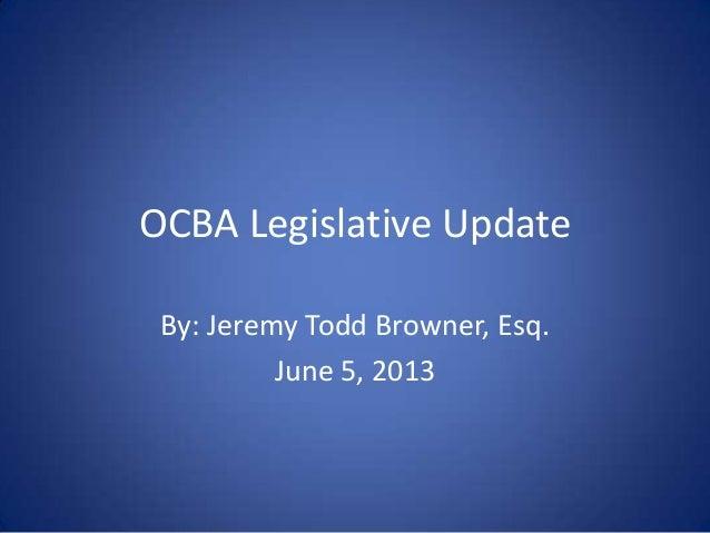 Legislative Update by EDPP Vice Chair Jeremy Browner
