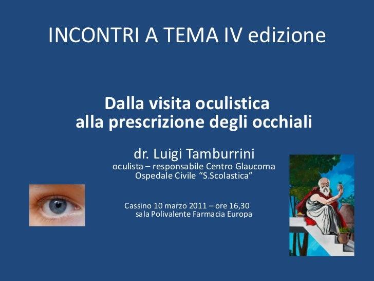 Presentazione conferenza 10-03-2011, dalla visita oculistica alla prescrizione degli occhiali. Dr Luigi Tamburrini