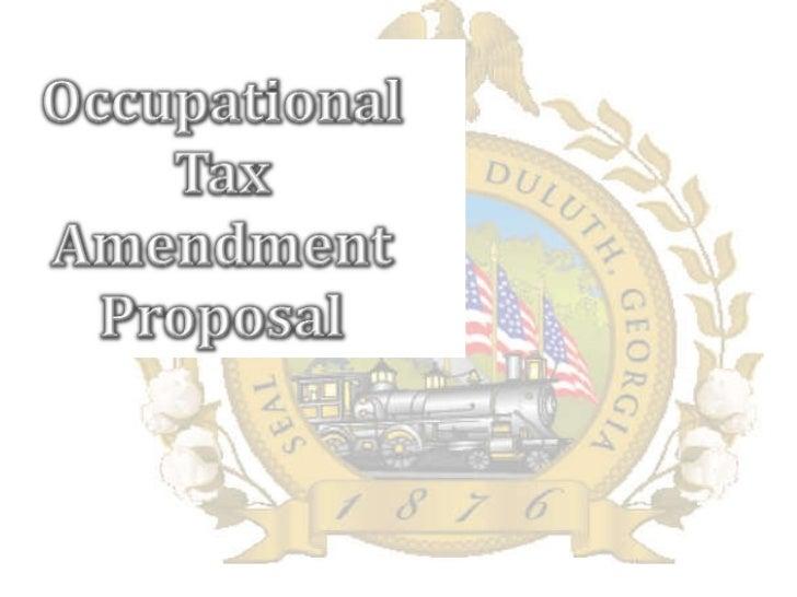 Occupational Tax Amendments