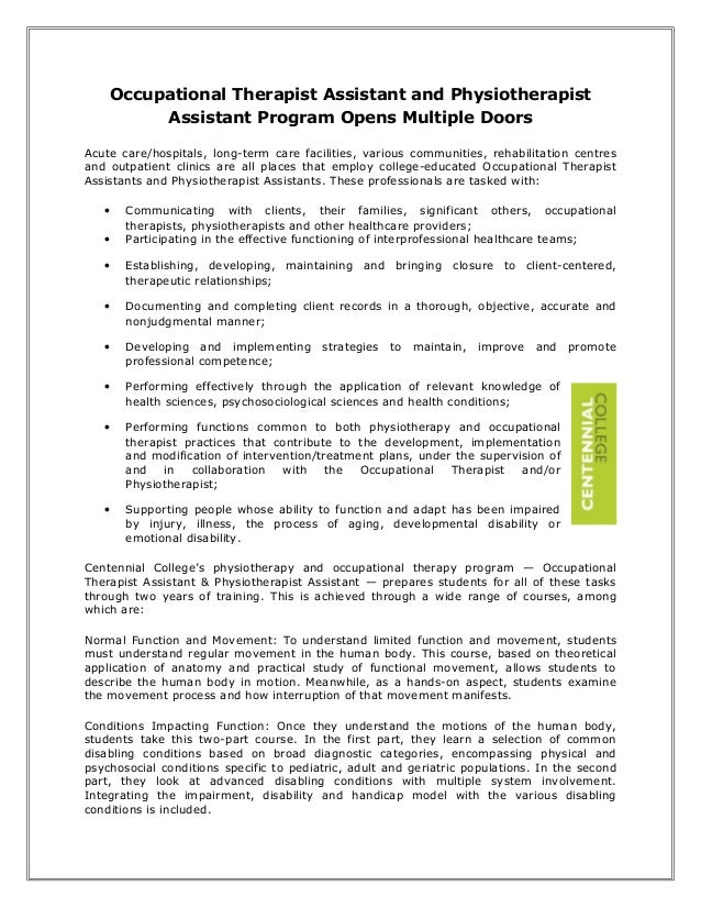 Occupational therapist assistant and physiotherapist assistant program opens multiple doors