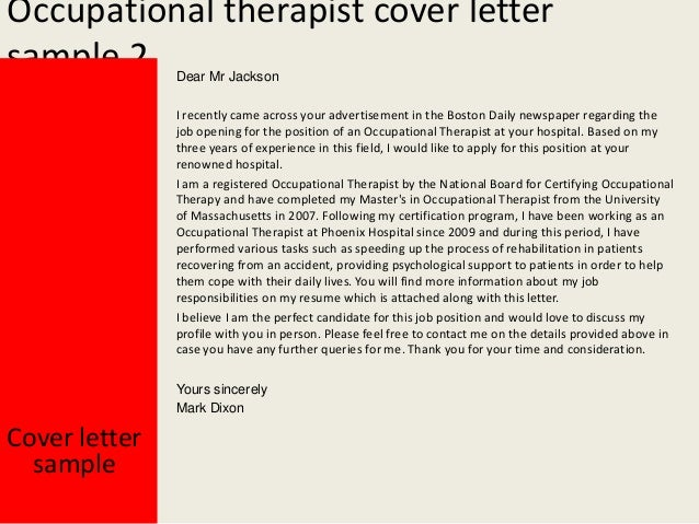 occupational therapist cover letter
