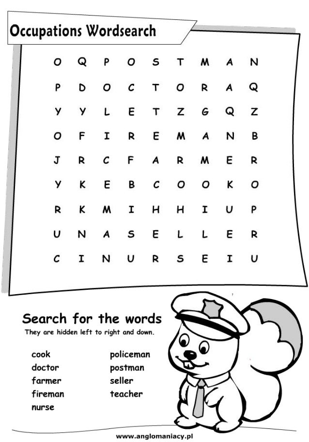 Job Word Search 1 Job Word Search 2 Months Of The Year Pictures to pin ...