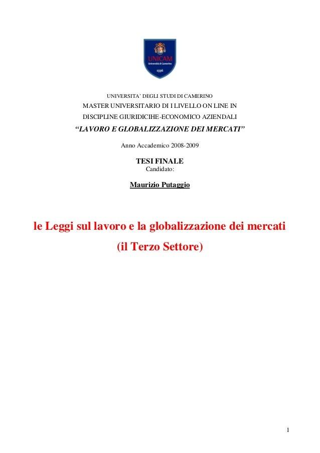 Lavoro e globalizzazione dei Mercati