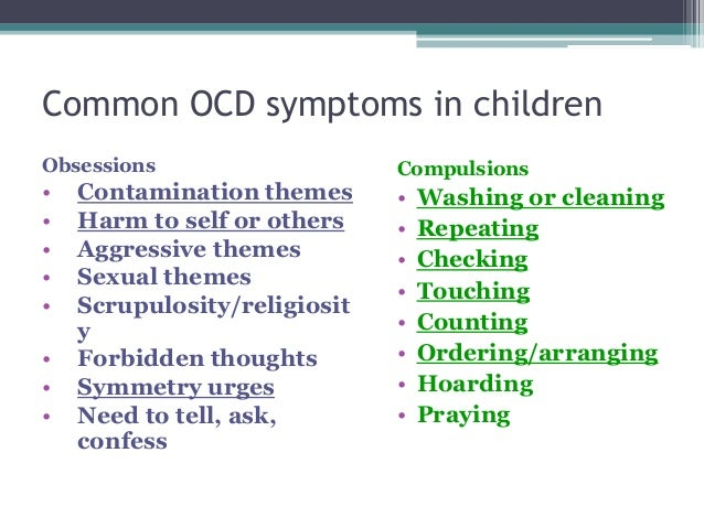ocd target symptoms list Obsessive compulsive disorder for dummies sorts out the the book shows readers whether ocd symptoms target specific symptoms — from doubting.