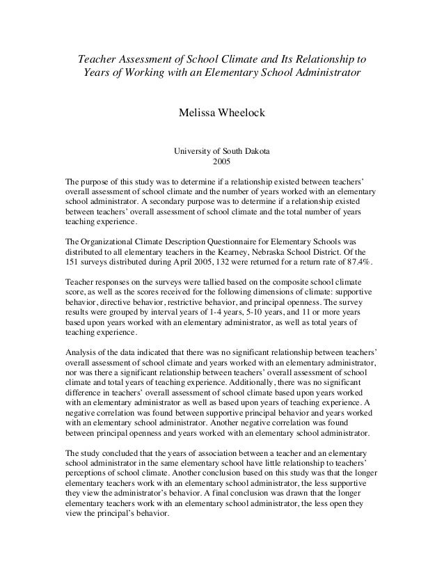Teacher Assessment of School Climate and Its Relationship to Years of Working with an Elementary School Administrator Meli...
