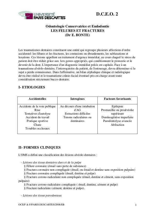 OCE/F & F/PARIS DESCARTES/2008/EB 1 D.C.E.O. 2 Odontologie Conservatrice et Endodontie LES FELURES ET FRACTURES (Dr E. BON...