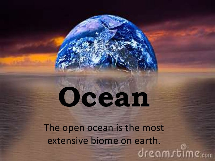 OceanThe open ocean is the most extensive biome on earth.