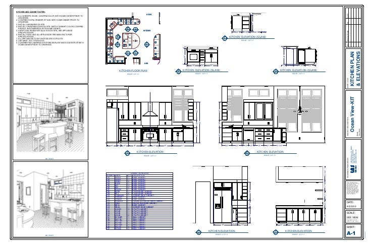 Kitchen Plan Elevation Drawing