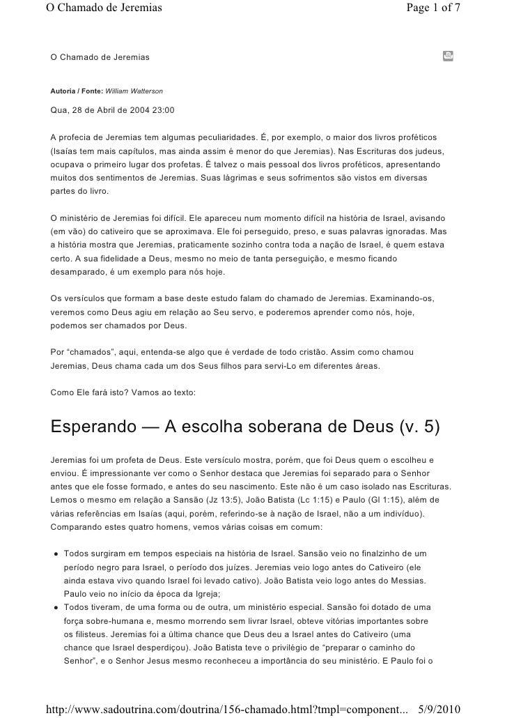 O Chamado de Jeremias                                                                      Page 1 of 7    O Chamado de Jer...