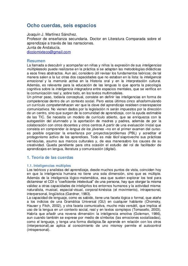 Ocho cuerdas, seis espacios: Teoría de las inteligencias y práctica de los espacios colaborativos en educación