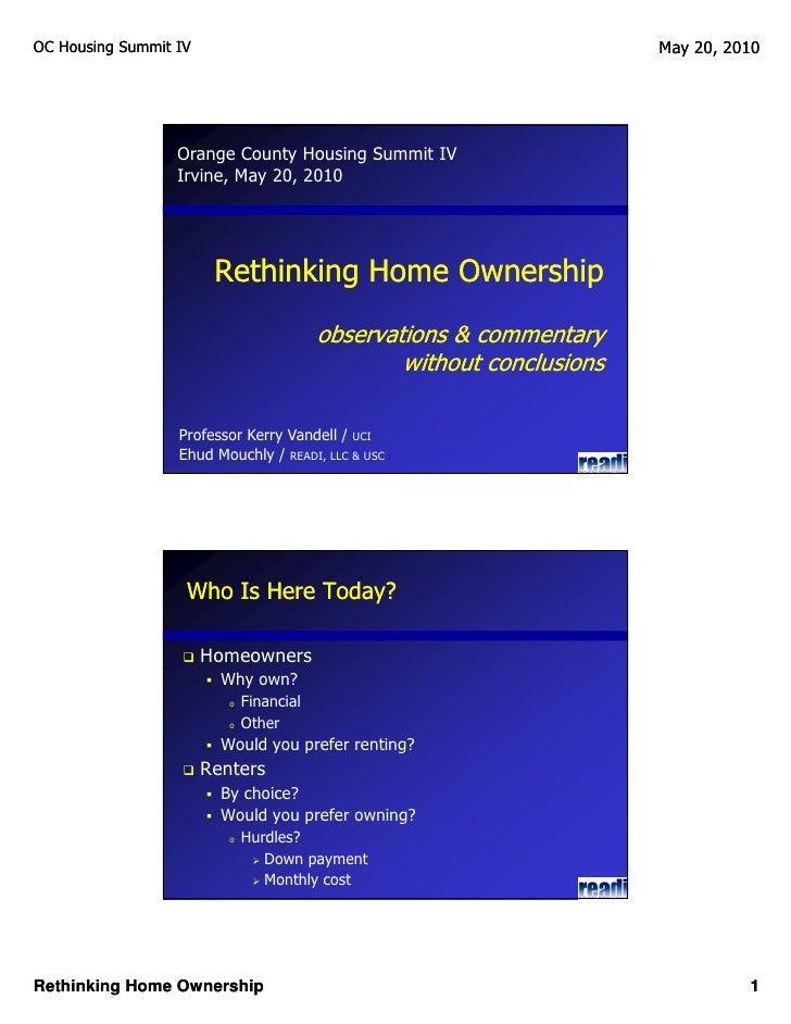 OC Housing Summit IV                                                    May 20, 2010                       Orange County H...