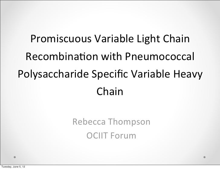 Promiscuous Variable Light Chain              Recombina6on with Pneumococcal             Polysaccharide Sp...