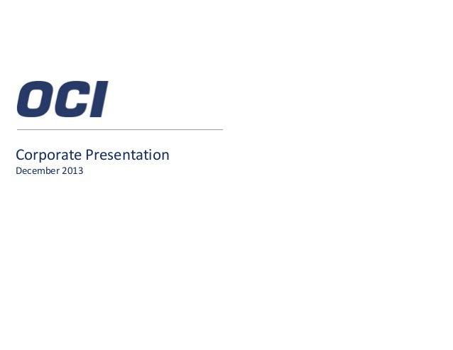 OCI NV December Corporate Presentation