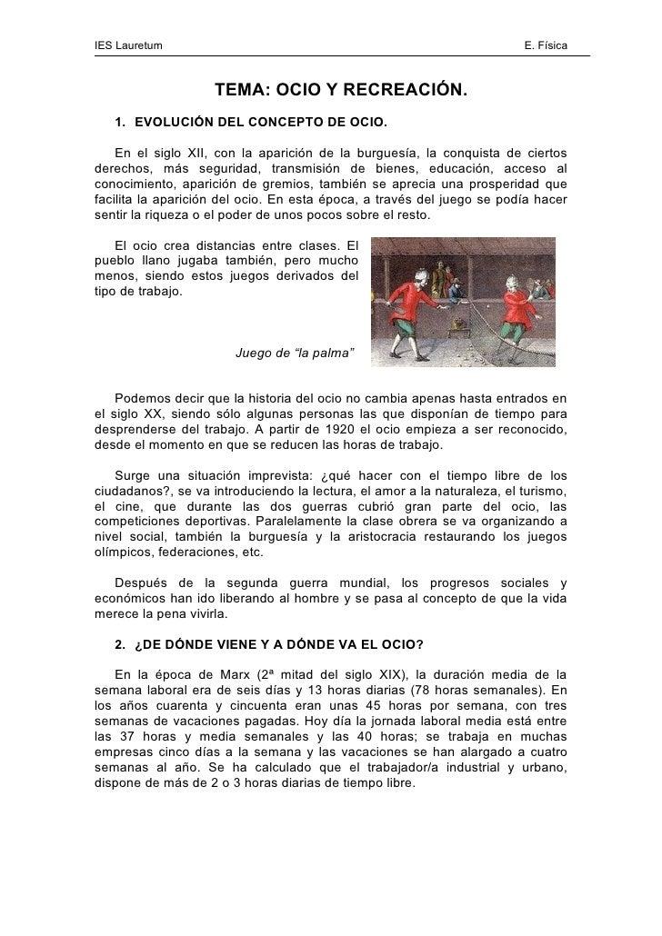 IES Lauretum                                                             E. Física                        TEMA: OCIO Y REC...