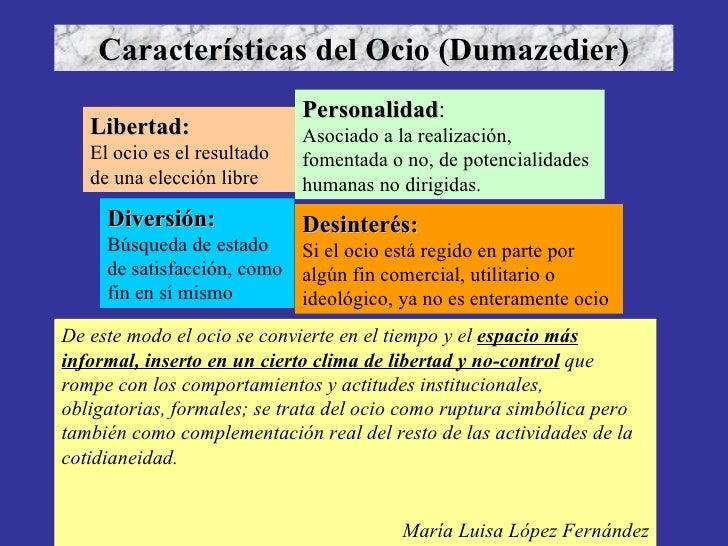 Características del Ocio (Dumazedier) Libertad: El ocio es el resultado de una elección libre Desinterés: Si el ocio está ...