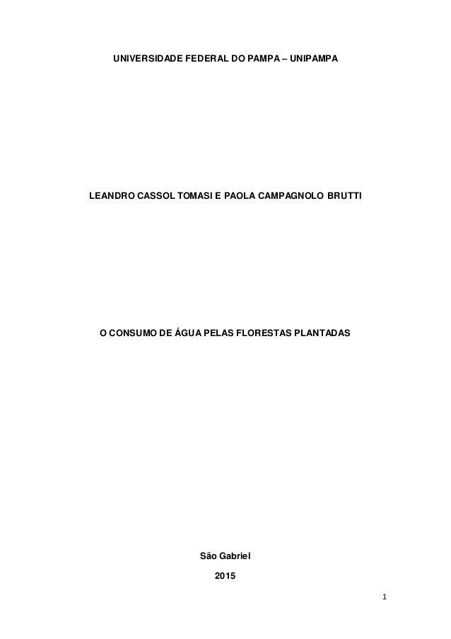 1 UNIVERSIDADE FEDERAL DO PAMPA – UNIPAMPA LEANDRO CASSOL TOMASI E PAOLA CAMPAGNOLO BRUTTI O CONSUMO DE ÁGUA PELAS FLOREST...