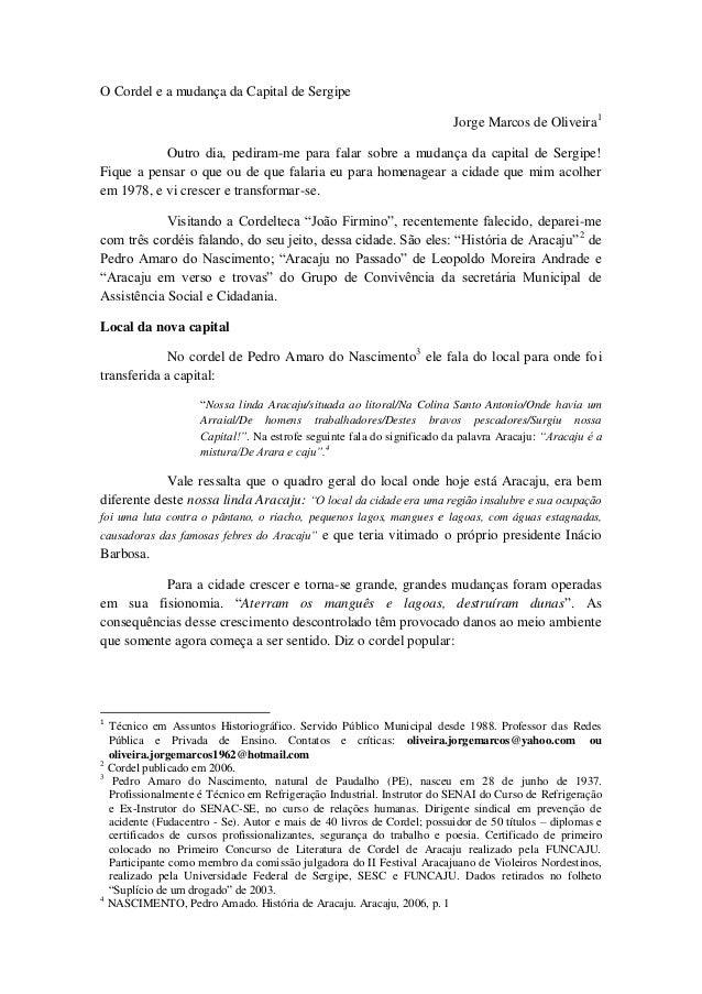 O Cordel e a mudança da Capital de Sergipe                                                                        Jorge Ma...