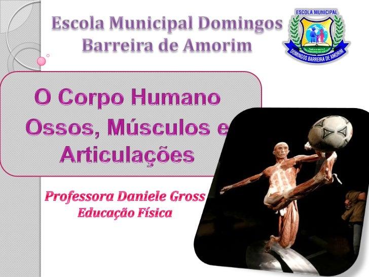 Escola Municipal Domingos Barreira de Amorim<br />O Corpo Humano<br />Ossos, Músculos e Articulações<br />Professora Danie...