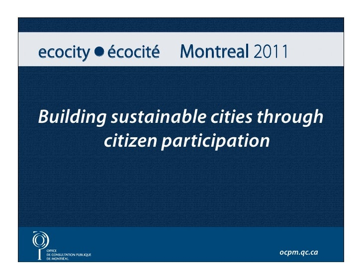 Conference by Louise Roy at Ecocity 2011