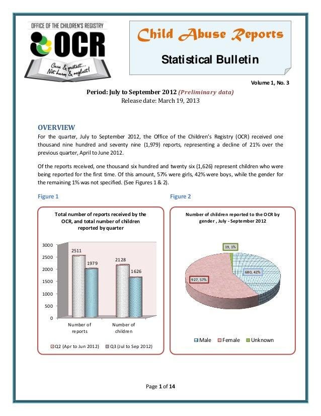 Child Rights - Office of the Children's Registry - Quarterly Bulletin, 2012 Jul-Sep Including Police Custody