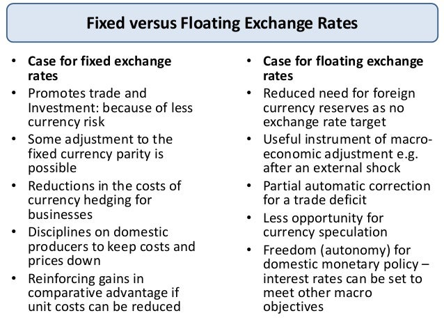 relative advantages and disadvantages of fixed and floating exchange rate systems Start studying ib economics international economics in a floating exchange rate •achieve relative exchange advantages and disadvantages of a fixed.