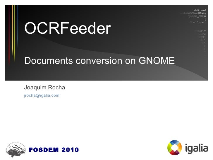 OCRFeeder, documents conversion on GNOME