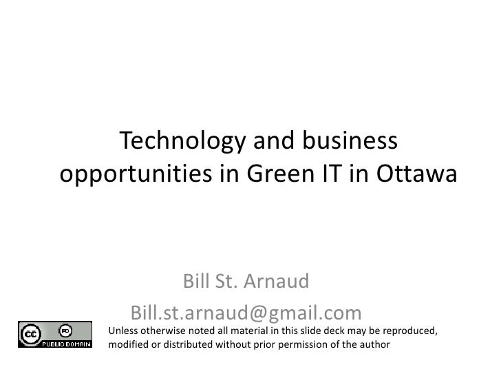 Ocri technology and business opportunities in green it in