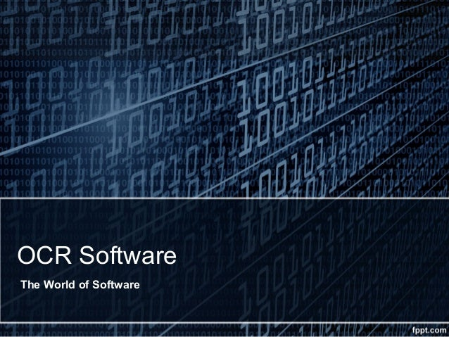 OCR Software The World of Software