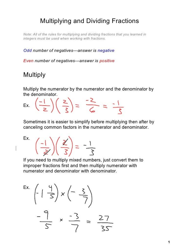 MultiplyingandDividingFractions Note:Alloftherulesformultiplyinganddividingfractionsthatyoulearnedin inte...