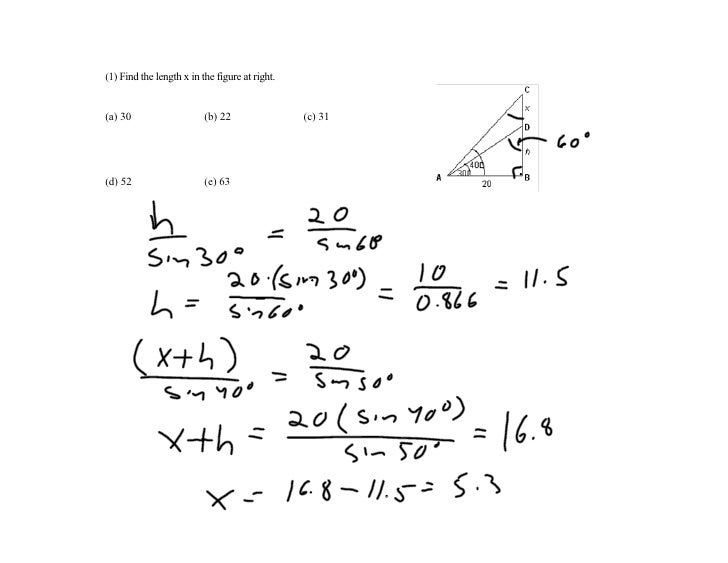 (1) Find the length x in the figure at right.   (a) 30                    (b) 22                (c) 31     (d) 52         ...