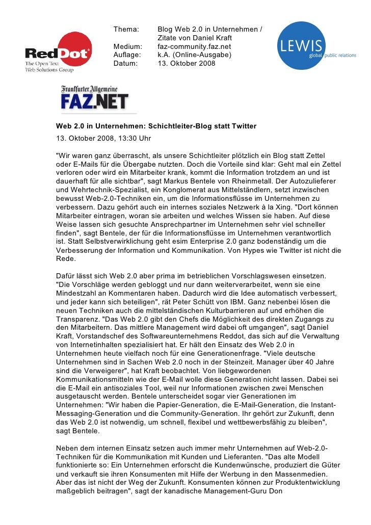 Thema:       Blog Web 2.0 in Unternehmen /                               Zitate von Daniel Kraft                  Medium: ...