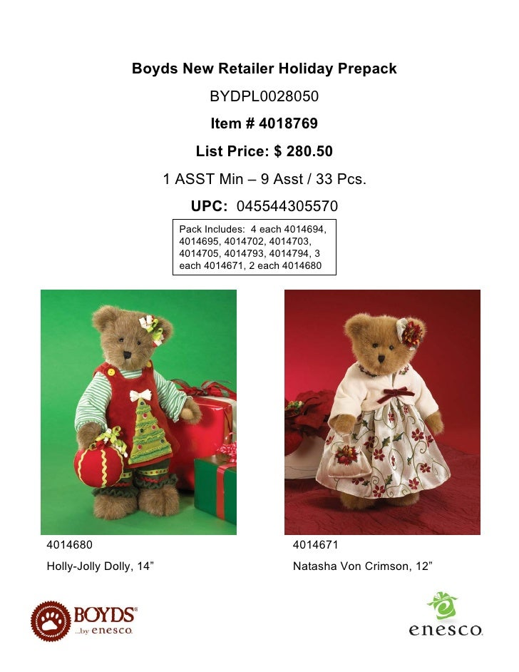 Boyds New Retailer Holiday Prepack                                  BYDPL0028050                                  Item # 4...