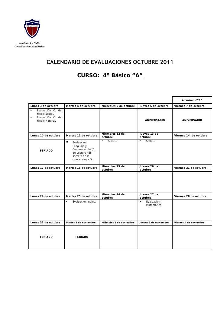 Instituto La SalleCoordinación Académica                         CALENDARIO DE EVALUACIONES OCTUBRE 2011                  ...