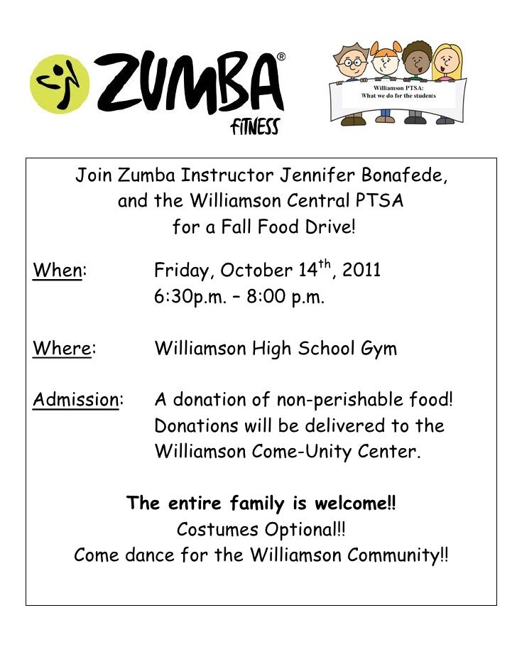 Join Zumba Instructor Jennifer Bonafede,         and the Williamson Central PTSA               for a Fall Food Drive!When:...