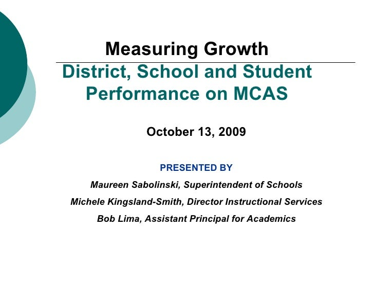 Measuring Growth District, School and Student Performance on MCAS October 13, 2009 PRESENTED BY Maureen Sabolinski, Superi...