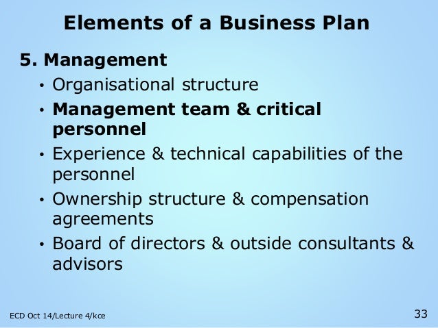 elements of the business 1 executive summary: your executive summary is a snapshot of your business plan as a whole it contains the purpose of the plan and brief highlights of all essential elements of the plan.