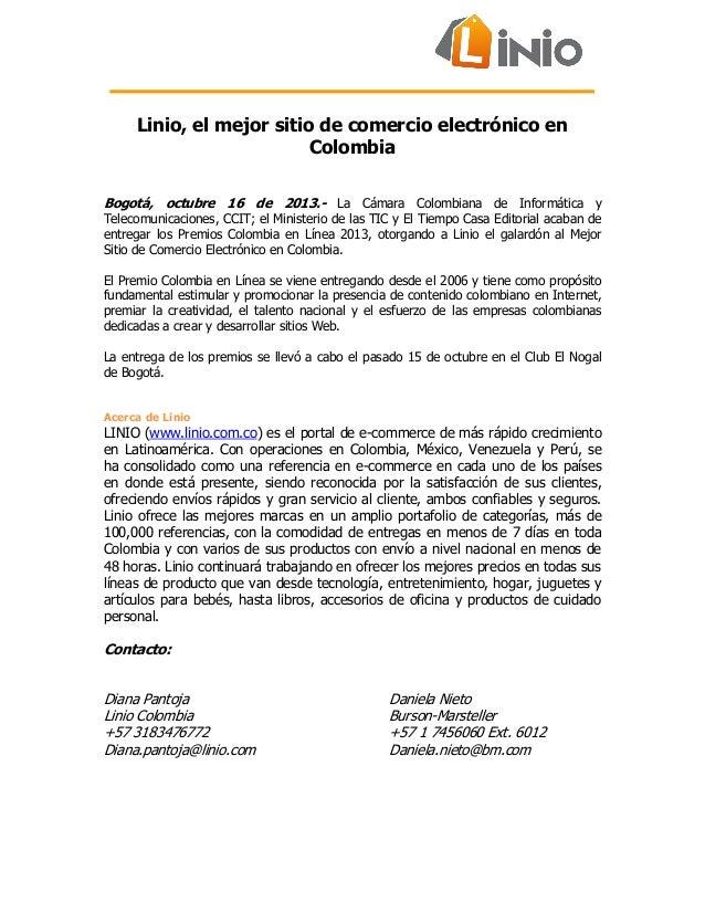 Oct 16 2013. linio, el mejor sitio de comercio electrónico en colombia