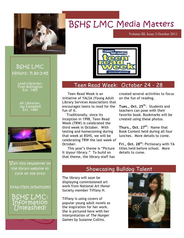 BSHS LMC Media Matters                                                                      Volume III, Issue 2 October 20...