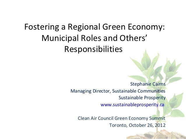 Fostering a Regional Green Economy: Municipal Roles and Others' Responsibilities