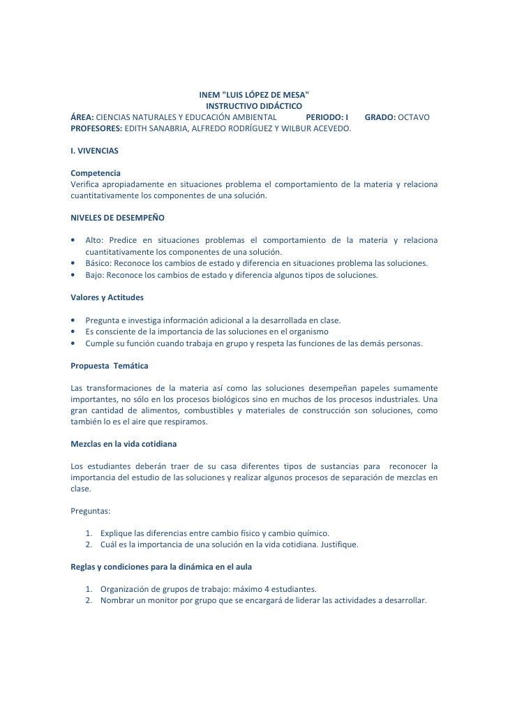 """INEM """"LUIS LÓPEZ DE MESA""""                                INSTRUCTIVO DIDÁCTICOÁREA: CIENCIAS NATURALES Y EDUCACIÓN AMBIENT..."""