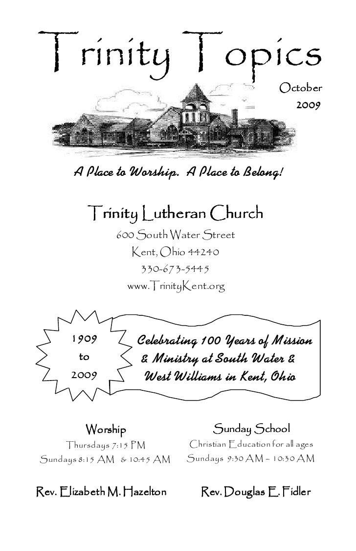 October 2009  Trinity  Topics