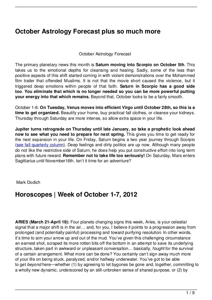 October Astrology Forecast plus so much more