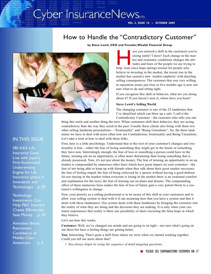 "VOL. 2, ISSUE 10 – OCTOBER 2009                            How to Handle the ""Contradictory Customer""                     ..."