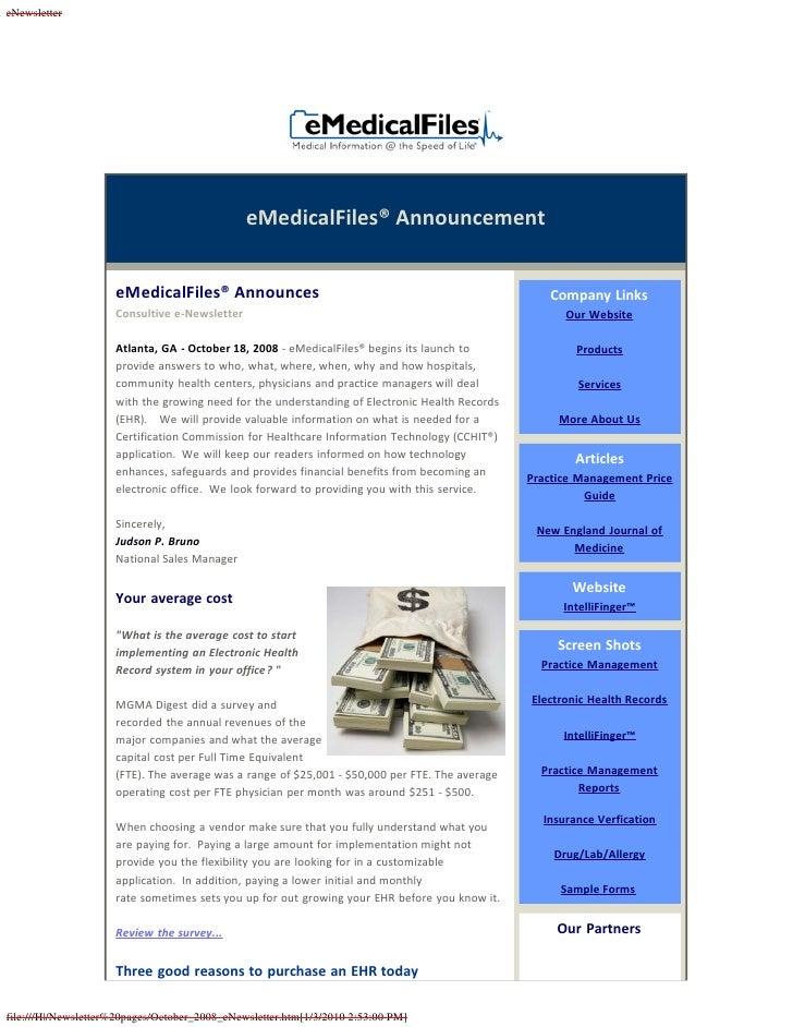 eNewsletter                                                    eMedicalFiles® Announcement                        eMedical...