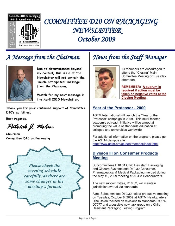 COMMITTEE D10 ON PACKAGING                              NEWSLETTER                               October 2009  A Message f...