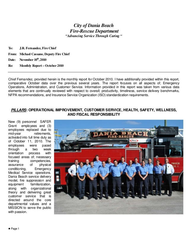 """Page 1 City of Dania Beach Fire-Rescue Department """"Advancing Service Through Caring """" To: J.R. Fernandez, Fire Chief From:..."""
