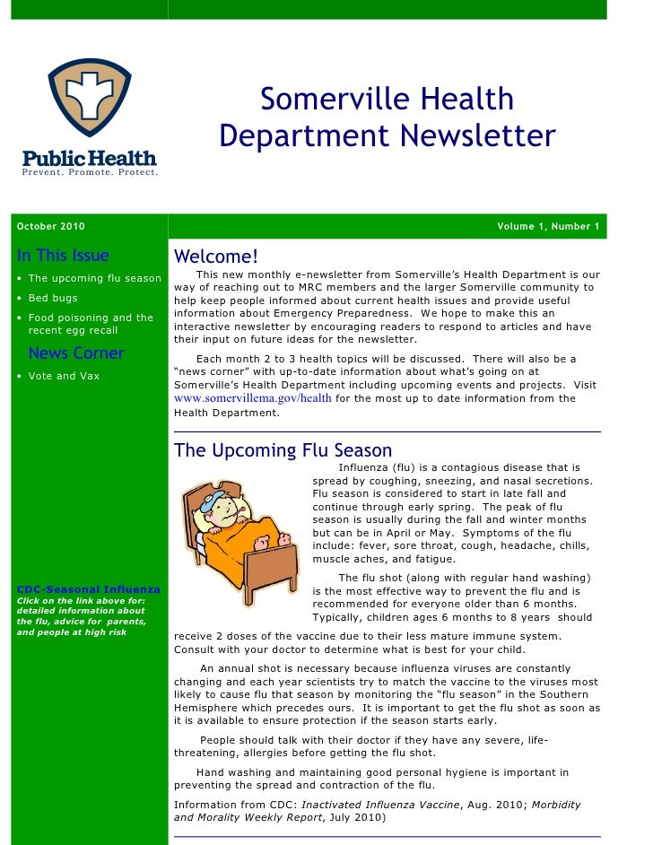 Somerville Health                                       Department NewsletterOctober 2010                                 ...