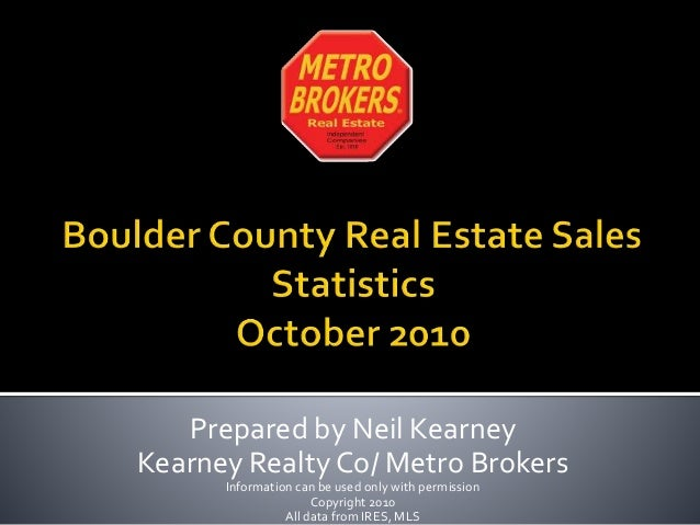 Boulder County Real Estate Statistics October  2010