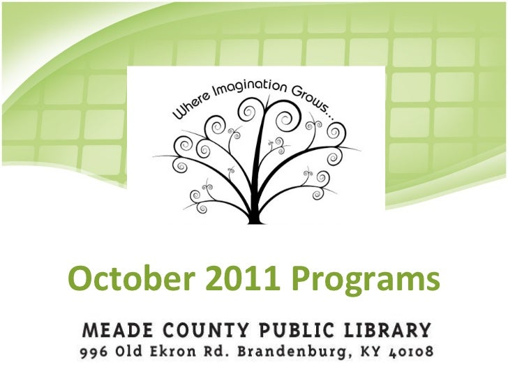 October 2011 Events at MCPL